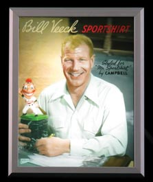 1949 Vitavision Light Box and Glass Plate Point-of-Sale Ad Featuring Bill Veeck - Fully Functional!