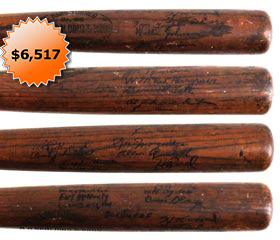 1924 World Champion Washington Senators Team Signed Baseball Bat With President Calvin Coolidge - Full JSA
