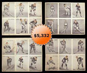 1933-34 V357 World Wide Gum Ice Kings Complete Set of (12) Six-Card Panels�Only Known!