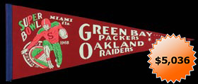 Super Bowl II Green Bay vs. Oakland Full-Size Pennant - Extremely Rare