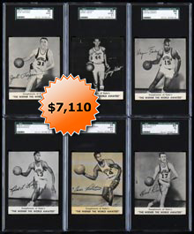 1960-61 Kahn�s Wieners Basketball Complete Set of (12) SGC Graded Cards with West RC
