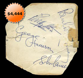 """The Beatles"" Autographed Piece From February 9, 1964 Performance on Ed Sullivan Show - Impeccable Provenance and Full JSA"