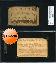 1869 Peck & Snyder Cincinnati Red Stockings (Small) Team Card SGC 10�First Baseball Card Ever Produced