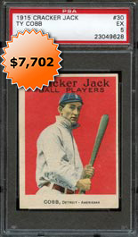 1915 E145 Cracker Jack #30 Ty Cobb PSA EX 5
