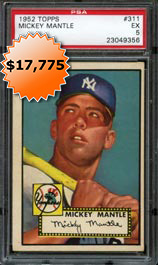 1952 Topps Baseball #311 Mickey Mantle Rookie Card PSA EX 5