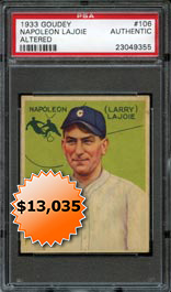 1933 Goudey Baseball #106 Napoleon Lajoie�PSA Authentic