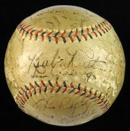 1931 New York Yankees Team-Signed Autographed Baseball With Babe Ruth, Lou Gehrig and Full JSA