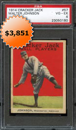 1914 Cracker Jack #57 Walter Johnson PSA 4