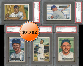 1951 Bowman Baseball Complete Set of (324/324) Cards with (5) Graded Keys Including PSA 4 Mickey Mantle & Willie Mays Rookie Cards