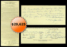 Jim Brown 1957 Cleveland Browns NFL Contract From His Rookie Season Signed by Jim Brown and Bert Bell - Full JSA