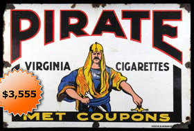 Early 1900s Pirates Cigarettes (T215 era) 27x38 Porcelain Plated Advertising Metal Display