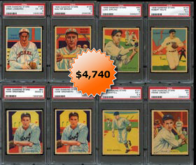1934-36 Diamond Stars Complete Set of (108) Baseball Cards with (14) PSA Graded Including Both Hank Greenberg Variations