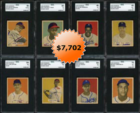 1949 Bowman Baseball Near Master Set of (240/240) Plus (6) Name on Front Variations with (20) SGC Graded Stars