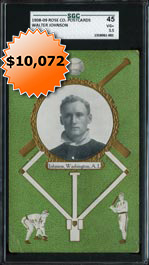 1908-09 Rose Company Postcards Walter Johnson SGC 45�First Offered and Only Graded by SGC or PSA!