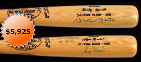 Mickey Mantle/Roger Maris Dual-Signed Commemorative Bat #98/115 - Full JSA