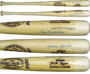 Joe DiMaggio Game Used Bat Signed by DiMaggio, Mickey Mantle & Ted Williams
