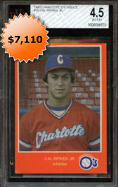 1980 Charlotte Orioles Police Orange Border Cal Ripken Jr. BVG 4.5