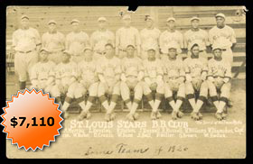 1926 St. Louis Stars Negro League Photo Postcard with Cool Papa Bell, Mule Suttles & Willie Wells from Richard Merkin Collection