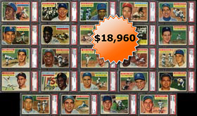 1956 Topps Baseball Complete PSA Graded Set of (340) Cards Plus Both Checklists--# on Registry