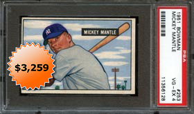 1951 Bowman Baseball #253 Mickey Mantle Rookie PSA 4