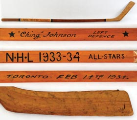Ching Johnson 1933-34 NHL All-Star Ace Bailey Benefit Game-Used Hockey Stick