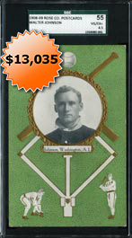 1908-09 Rose Company Postcards Walter Johnson SGC 55—Highest Graded