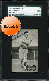 1933-36 Zeenut Pacific Coast League PCL Joe DiMaggio Rookie Card Batting (without Coupon) SGC 10