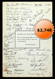 "1937 NFL Champion Washington Redskins Team-Signed Famous ""Dee Cee Diner"" Menu--Full JSA"
