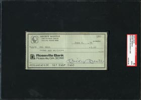 Mickey Mantle Signed Personal Check - SGC Authentic