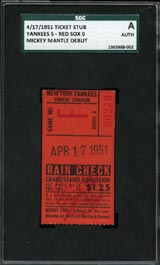 "April 17, 1951 Yankee Stadium SGC ""Authentic"" Ticket Stub - Mickey Mantle Debut"