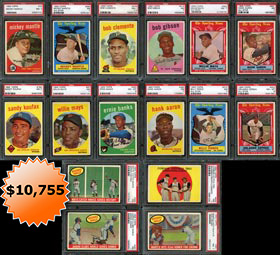 1959 Topps Baseball Complete PSA Graded Set of (572) Cards with (5) Presentation Boxes--#35 on Registry
