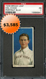 1909-11 T206 White Borders Hal Chase Blue Portrait (Broad Leaf 350) PSA 1--Only Graded
