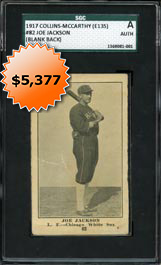1917 E135 Collins-McCarthy #82 Shoeless Joe Jackson (Blank Back) SGC Authentic
