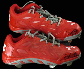 Oscar Taveras 2014 Signed Autographed Game-Worn Game Used Shoes Cleats