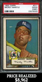 1952 Topps Baseball #311 Mickey Mantle Rookie Card PSA 2 (mc)