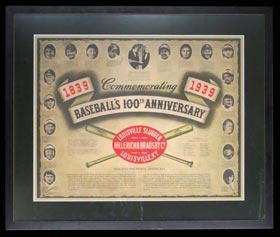 1939 Louisville Slugger/Baseball 100th Anniversary Display With Original Easel