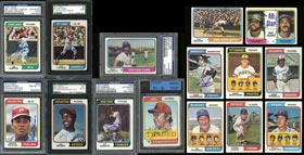 1974 Topps Baseball Signed Partial Set of (433) Different Cards Plus (53) Dupes with (26) Hall of Famers, Stars & Deceased