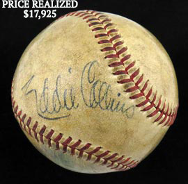 Extremely Rare Eddie Collins Single-Signed Autographed Baseball - Full JSA