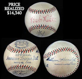 Babe Ruth 1932-1933 Single-Signed Autographed Official American League William Harridge Baseball With Full JSA - Spectacular!