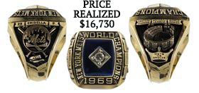 Danny Frisella 1969 New York Mets World Champions Ring