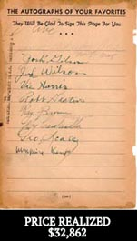 "Incredible 1944 Negro League Multi-Signed Autographed ""Who's Who in Baseball"" Album Page with Josh Gibson autograph, Jud Wilson autograph, Ray Brown autograph and Roy Campanella autograph - Full JSA & PSA/DNA"