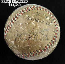 Babe Ruth Single-Signed Autographed May 28, 1927 Game-Used Baseball Hit For His 12th of 60 Homeruns - Full JSA