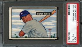 1951 Bowman Baseball #253 Mickey Mantle Rookie Card - PSA 4