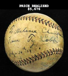 Ty Cobb 1919 Single-Signed and Dated Baseball Personalized to Helene Champlain - Full JSA