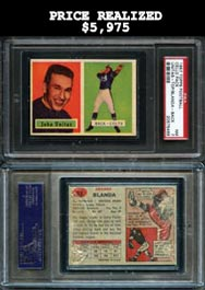 1957 Topps Football Unopened Cello Pack with Johnny Unitas Rookie Card (Front)/George Blanda (Back)--PSA 7