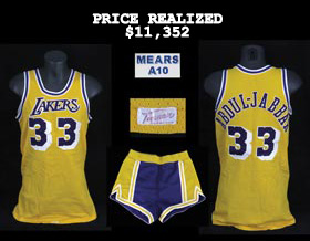 Kareem Abdul-Jabbar 1980-1985 Los Angeles Lakers Game-Worn Game Used Home Jersey (Mears A10) and Accompanying Road Shorts