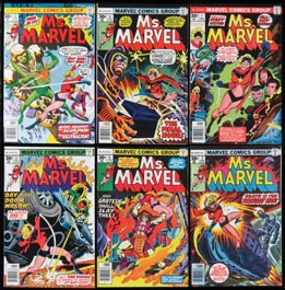 1977 Bronze Age Ms. Marvel Key Early Issue Comic Book Lot of (40) with (22) #1