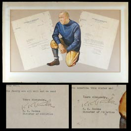Knute Rockne Display With (2) Signed Autographed 1930 Letters on Notre Dame Stationery - Full JSA