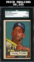 1952 Topps Baseball #311 Mickey Mantle Rookie Baseball Card High Number SGC 30