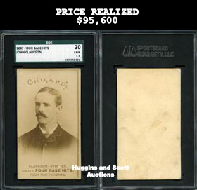 1887 Old Judge Four Base Hits John Clarkson Baseball Card SGC 20—Only Graded!